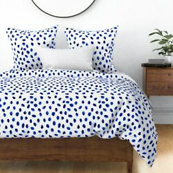 Blue Polka Dot White Spots Dots Watercolor And Sateen Duvet Cover By Roostery