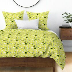 Goat Yellow Modern Baby Nursery Decor Chevre Farm Sateen Duvet Cover By Roostery