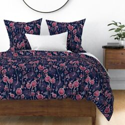 Floral Purple Modern Orchid And Navy Poppy Sateen Duvet Cover By Roostery