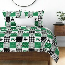 Farm Life Cheater Woodgrain Green Cow Top Pigs Sateen Duvet Cover By Roostery