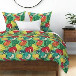 Fruits Colorful Food Apples Cherries Pears Farm Sateen Duvet Cover By Roostery