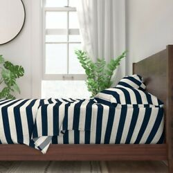 Stripes Horizontal Navy Nursery Blue 100 Cotton Sateen Sheet Set By Roostery