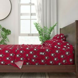 Cuckoo Clock Bird House Time Red Wood 100 Cotton Sateen Sheet Set By Roostery