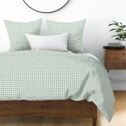 Rustic Grid Watercolor Farmhouse Checkered Mint Sateen Duvet Cover By Roostery