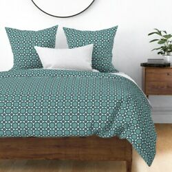 Apron Teal Retro Vintage Kitchen Plates Crochet Sateen Duvet Cover By Roostery