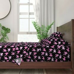 Poodle Dog Breed Polka Dots Pink Black 100 Cotton Sateen Sheet Set By Roostery