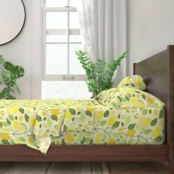 Lemonade Lemons Zesty Fresh And Lively 100 Cotton Sateen Sheet Set By Roostery