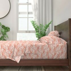 Coral Watercolor Herringbone Horizontal 100 Cotton Sateen Sheet Set By Roostery