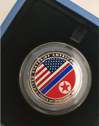 Us-dprk 2018 Summit 1oz 999 Fine Silver Medallion Singapore Mint 2nd Issue