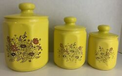 Vintage Art Deco Kromex Nesting Canister Yellow Flowers 3 Piece Set Made In Usa