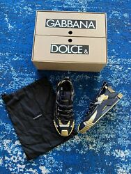 845 Authentic Dolce Gabbana Mens Black And Gold Ns1 Sneakers In Store Size 42.5