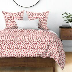Lobsters Red Lobsters Little Arrow Crabs Red Sateen Duvet Cover By Roostery