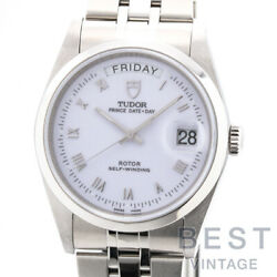 Tudor Date Day 76200 Menand039s White Ss Watch Watch Roman Dial