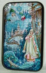 Nice Russian Lacquer Box Kholui Snow Maiden And Father Frost Hand Painted