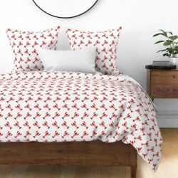 Little Lobsters Red And White Beach Decor Lobster Sateen Duvet Cover By Roostery