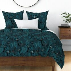 Retro Tropical Beach Lobster Lobsters Palm Sateen Duvet Cover By Roostery