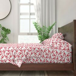 Red And White Lobsters Summer Beach 100 Cotton Sateen Sheet Set By Roostery