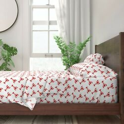 Little Lobsters Red And White Beach 100 Cotton Sateen Sheet Set By Roostery