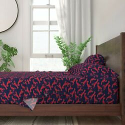 Red And Blue Lobsters Summer Seafood 100 Cotton Sateen Sheet Set By Roostery