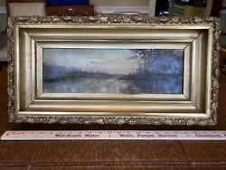 19thc Antique Landscape Oil On Canvass Painting And Gilt Frame Signed