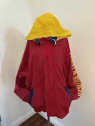 Vintage Jacket Hood Spell Out Red Blue Yellow Size Medium Logo