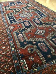 4and0395x8and0392 Antique Zenjan Hand-knotted Wool Tribal Rug/ Beautiful Organic Colors