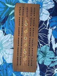 Vintage Weston Bowl Mill Vermont Cribbage Board Hand Painted Floral Design 415