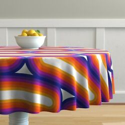 Round Tablecloth Retro Style 1970s Stripes Rainbow Colors Cotton Sateen