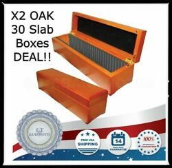 X2 Certified Coin Slabs Oak Wood Storage Boxes Case 30 Pcgs Ngc Usa Anacs Holder