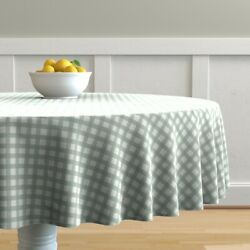 Round Tablecloth Rustic Grid Watercolor Farmhouse Checkered Mint Cotton Sateen