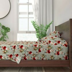 Santa Claus Xmas Christmas Wreaths Snow 100 Cotton Sateen Sheet Set By Roostery