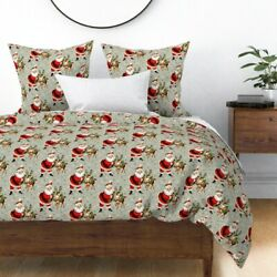 Santa Claus Xmas Christmas Wreaths Snow Flakes Sateen Duvet Cover By Roostery