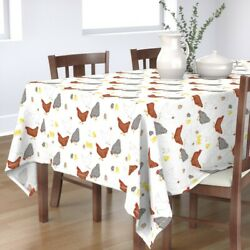 Tablecloth Chickens Watercolor Chicken Hens Chicks Easter Yellow Cotton Sateen