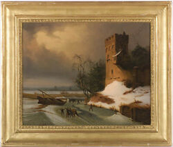 Leopold Till 1830-1893 Winter Landscape With Ice-skaters Oil Painting M