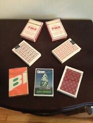 Lot 7 Vintage Airlines Playing Cards Sealed Decks Twa Braniff Continental Ozark
