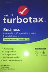 Intuit Turbotax Business 2020 Tax Software Federal Windows Cd / Download New