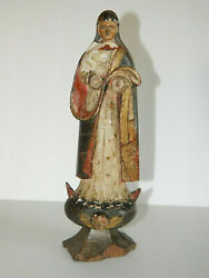 Orig Antiques Wood Carved Virgin Mary Religious Altar Statue Portuguese Missionn