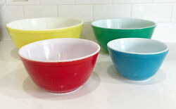 Pyrex Primary Colors Mixing Nesting Bowls Set Of 4 Vintage Colorful Collectors