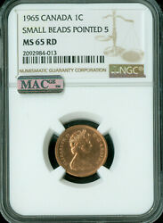 1965 Type-1 Sm Bd Pt-5 Canada Cent Ngc Mac Ms65 Rd Pq2nd Finest 4 Coins Known..