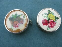 2 Vintage Retractable Sewing Measuring Tapes Made In West Germany Plastic Case