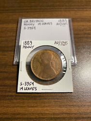 1889 Victoria Great Britain Penny Cent Almost Uncirculated/unc S-3954 14 Leaves