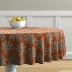 Round Tablecloth Art Decor Retro Inspired Modern Home Scale Fan Cotton Sateen