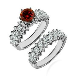 1.5 Carat Real Red Diamond Cluster Solitaire Wedding Ring Band 14k White Gold