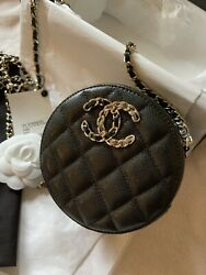 Authentic Caviar Quilted Round Clutch With Chain Black