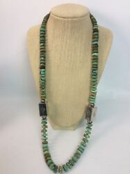 Vtg Native American Navajo Turquoise Sterling Silver Beads Necklace
