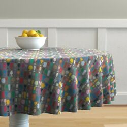Round Tablecloth New Year Glasses Alcohol Drinks Celebration Party Cotton Sateen