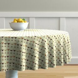 Round Tablecloth Drinks Wine Glasses Wine Classy Drinking Alcohol Cotton Sateen