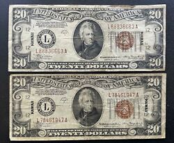 1934-a 20 Hawaii Federal Reserve World War 2 Emergency Note Fr 2304 2 Notes