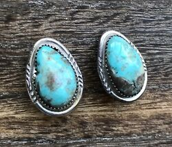 Sterling Silver Turquoise Native American Clip On Earrings Signed Gd