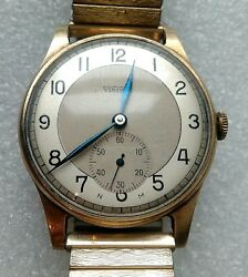 Gents Mechanical Vintage Wrist Watch 9ct Solid Gold Visible